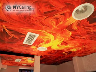 banyo gergi tavan, banyo germe tavan, mat gergi tavan, stretch ceiling, bathroom red stretch ceiling,